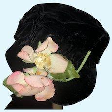 Vintage Doll Hat Bonnet Velvet W/ Flowers Sweet