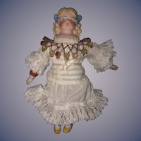 Antique Doll Miniature Bisque Molded Shoulder Plate & Molded Ruffle Stockings Dollhouse