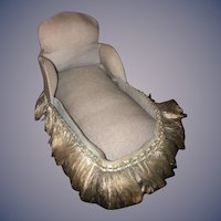Old Cloth and Board Settee Sofa Miniature Doll for Dollhouse Chaise Lounge