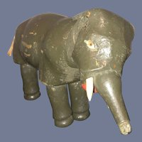 Antique Doll Schoenhut Wood Carved Elephant Jointed Smaller Size Sweet