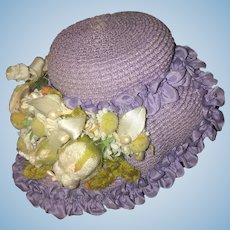 Vintage Doll Artist Straw Bonnet Hat Flowers and ruffles Designed by Ruth