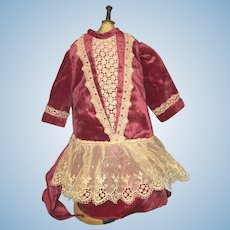 Vintage Sweet Doll Dress Drop Waist Lace Velvet