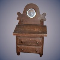Old Doll Folk Art Hand Made Wood Carved Chest W/ Mirror Dollhouse Miniature