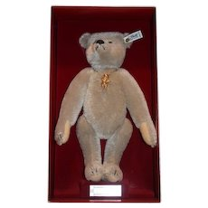 Autographed Vintage Steiff Teddy Bear Richard Steiff Margarete Steiff Mohair in Original Box W/ Steiff Bear Pin