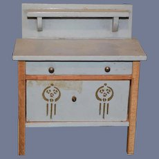 Old Doll Painted Chest Cabinet Tole Painted Sweet Wood Miniature Dollhouse