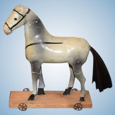 Old Doll Petite Size Papier Mache Horse on Wood Plank W/ Tin Wheels Pull Toy