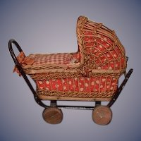 Old Doll Miniature Wicker Carriage Pram W/ Baby Dollhouse