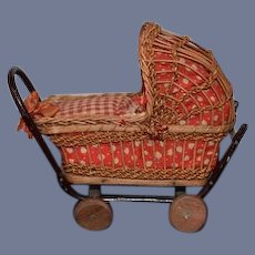 Old Doll Miniature Wicker Carriage Pram W/ Baby Dollhouse