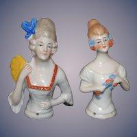 Antique Doll Half Doll Set German Lady W/ Fan and Lady w/ Flowers China Head