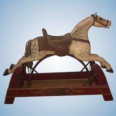 Antique Wood Horse Toy Ride On Child Doll Bounces WONDERFUL Leather Saddle Wood Horse Glider