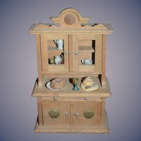 Old Miniature Wood Cupboard Cabinet W/ Food & Accessories Doll Dollhouse