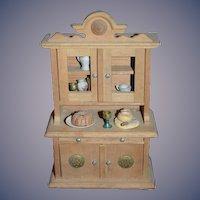 Old Miniature Wood Cupboard Cabinet W/ Food & Accessories Doll Dollhouse