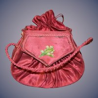 Antique Doll Satin Purse Candy Container Wonderful