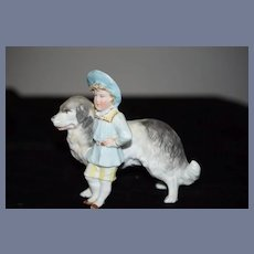 Antique Boy and Dog Bisque Staffordshire Piano Baby Figurine Doll Miniature Dollhouse
