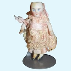 Antique Doll Miniature All Bisque Jointed Dollhouse Doll Dressed