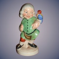 Antique Erphila German Porcelain Character Man W/ Parrot