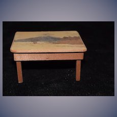Old Doll Wood Oriental Hand Painted Miniature Table Dollhouse