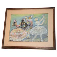 Old Wonderful Costume Party Dancers Painting Signed T. Balachowsky