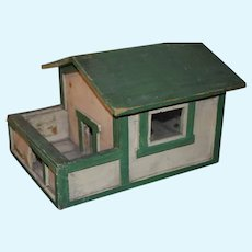 Old Doll Wood Farm House Animals Dollhouse Sweet Folk Art Primitive Miniature