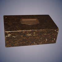 Old Papier Mache Latch Box Wetherhold & Metzger Metal Lock Shoe Box Child's Doll