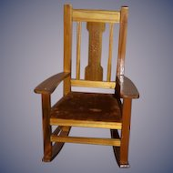 Doll Rocking  Chair Queen of Rockers MELORA FURNITURE FACTORY Old Label on Bottom Mission Style