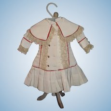 Wonderful Doll Dress W/ Drop Waist and Cape Collar Lace French Doll