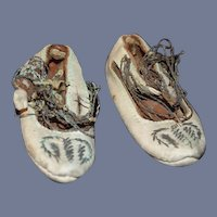 Antique Doll Shoes Leather Fancy W/ Needle Work