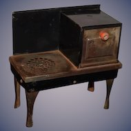 Antique Doll Child's  Miniature Stove Oven Tin Real Salesman Sample