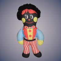 Old Cloth Doll Golliwog Two Faces Sweet Petite Size