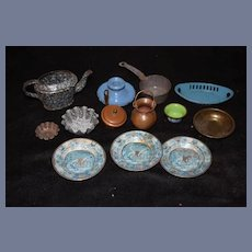 Old Doll Miniature Tin Set For Dollhouse Kitchen Molds and Enamel & More