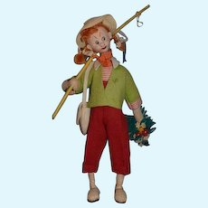 "Vintage Cloth Doll Klumpe ""Gone Fishing"" Girl W/ Fishing Pole and Basket Original Tag"