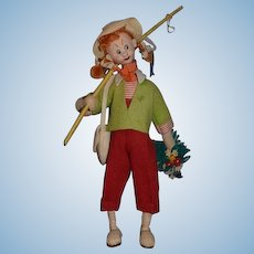 "Vintage Cloth Doll Klumpe ""Gone Fishing"" Girl W/ Fishing Pole and Basket Original Tag"