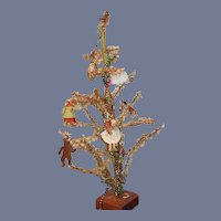 Old Doll Miniature Feather Christmas Tree W/ Antique Miniature Dolls Bear Sweet