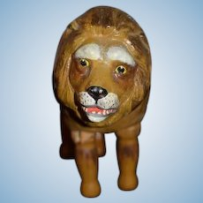 Old Wood Doll Schoenhut Lion Carved Jointed Circus