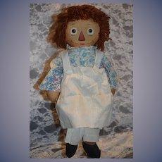 Old Raggedy Ann Doll Cloth Doll W/ Tag Johnny Gruelle's Own Award Winner