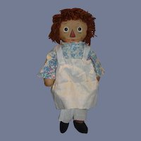Old Raggedy Ann Doll Cloth Doll W/ Tag Johnny Gruelle's Own Award Winner
