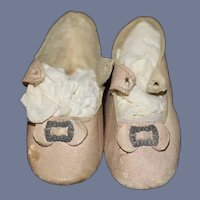 Antique Doll Leather Shoes w/ Buckles Sweet