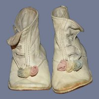 Old Doll Child's Leather Shoes Boots with Rosettes