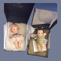 Wonderful R. John Wright Doll Mint in Box FLIT Kewpie Bug W/ COA and Fleur Flower Kewpie SET