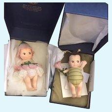 Wonderful R. John Wright Doll Mint in Box FLIT Kewpie Bug W/ COA and Fleur Flower Kewpie SET