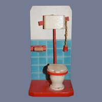 Old Doll Wood Toilet Bathroom Set Miniature Dollhouse