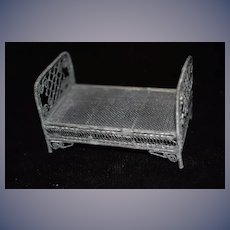 Old Ornate Doll Bed Miniature Dollhouse