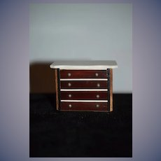 Old: Doll: Chest: Marble Top: Working Drawers: Miniature : Dollhouse: