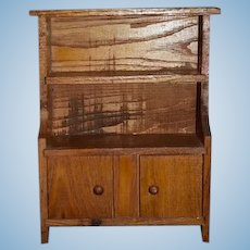 Old Doll Wood Cabinet Chest Larger Scale Hand Made Folk Art Display