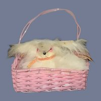 Old Doll Friend Fur Dog in Basket Miniature Dollhouse