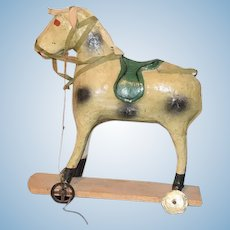 Old Papier Mache Horse on Wheels Pull Toy For Doll Petite Size