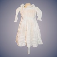 Antique Doll Dress White Cotton W/ Lace Sweet