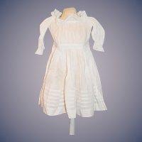 Antique Doll Dress White Cotton W/ Lace Sweet