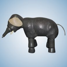 Antique Doll Wood Carved Jointed Small Elephant
