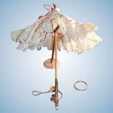 Vintage Doll Lace and Wood Metal Small Parasol Umbrella Gorgeous 11""
